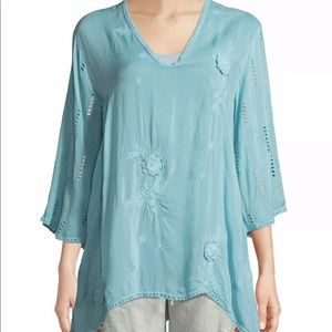 Johnny Was Chansy V-neck Pullover Large Blue $258